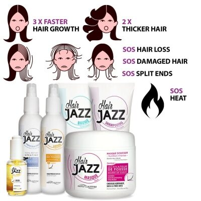 Hair Jazz Set - Complete Washing Routine + Serum + Heat Protectant Spray